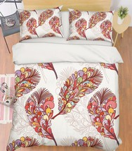 3D Red Feathers Bed Pillowcases Quilt Duvet Cover Set Single Queen King Size AU - $64.32+
