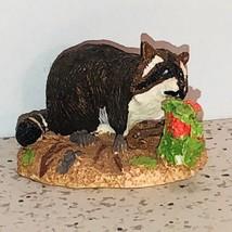 Franklin Mint Animal Figurine Elfie Harris Vintage 1986 Miniature Raccoon Flower - $28.91