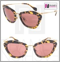 MIU MIU NOIR 10N Brown Havana Pink Mirrored Gold Sunglasses 7S0-0A0 MU10NS - $197.01