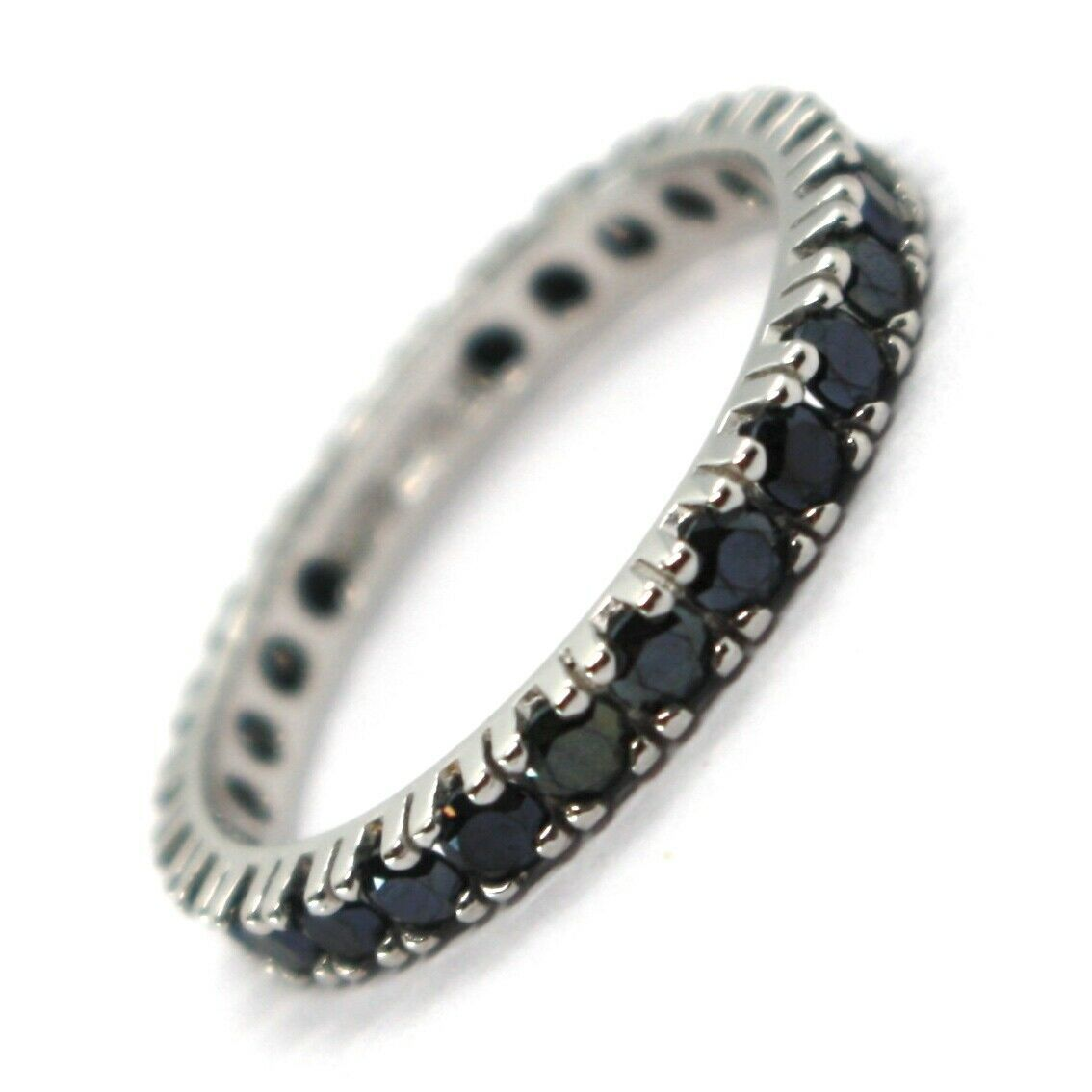 18K WHITE GOLD ETERNITY BAND RING, BLACK CUBIC ZIRCONIA, THICKNESS 3 MM