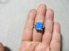 Vintage 925 Sterling Solitary Large Square Cabochon Blue Opal Stone ring s.8 - $29.99
