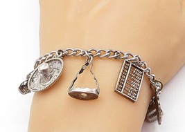 925 Sterling Silver - Vintage Assorted Charmed Curb Link Chain Bracelet ... - $63.58