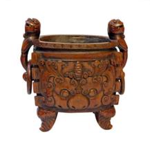 Bamboo Vintage Chinese Oval Shape Foo Dog Handle Ding Incense Burner n291 - $1,695.00
