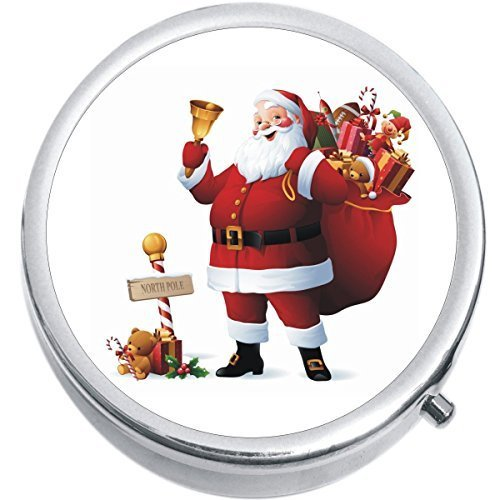 Primary image for Santa Claus Christmas Gifts Medicine Vitamin Compact Pill Box