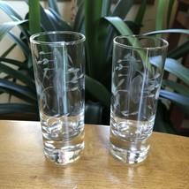 Vintage Etched Floral Art Glass Crystal Cordial Shot Glasses Set Of 2 - $24.75