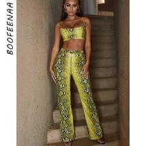 BOOFEENAA Neon Snake Skin Print Sexy Two Piece Set Crop Top and Wide Leg... - $40.33
