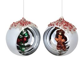 Pack of 6 Candy Cane & Gingerbread Shadow Box Glass Christmas Ornaments 4""