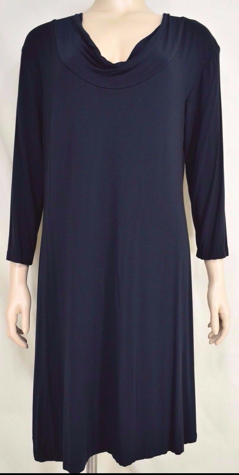 Primary image for Biondo dress NWT SZ XL shift black 3/4 sleeve rayon lycra USA cowl neckline LBD.