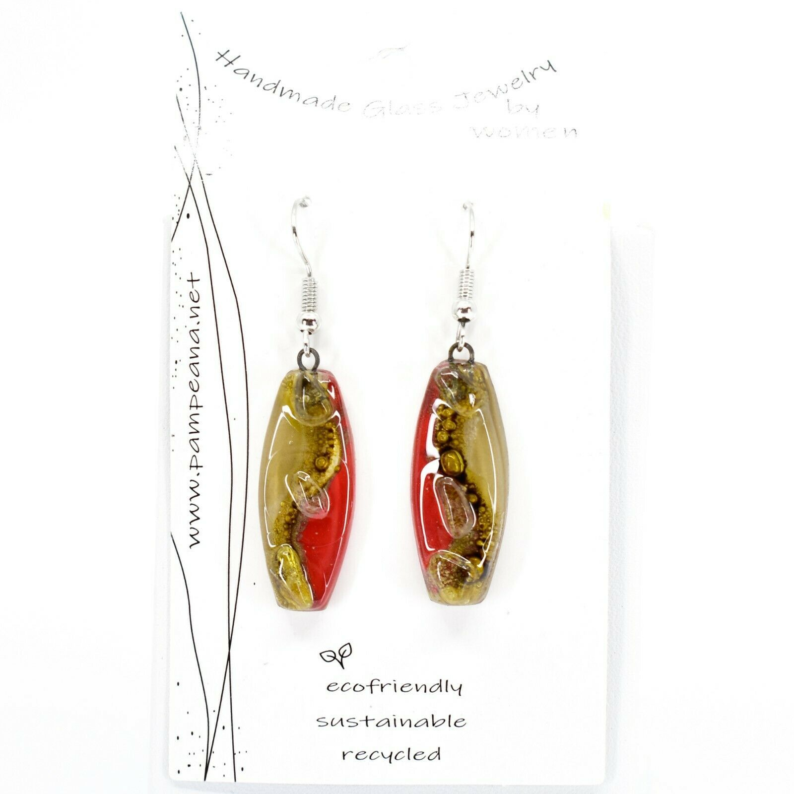 Handmade Recycled Fused Glass Red & Brown Oval Surf Hook Earrings Made Ecuador