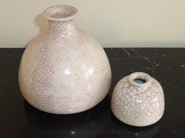 LISTED ARTIST PAUL BELLARDO 1977 ORIGINAL ARTWORK CRACKLE POTTERY VASES - $219.00