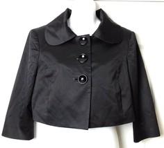 bebe Cropped Blazer Womens 8 Cotton Blend Black Wide Collar Christmas Ja... - $16.66