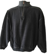 Mens Tommy Bahama Charcoal Grey Gray Half Zip Cotton Sweater Pullover Sz... - $39.99