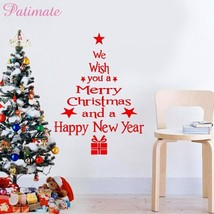 Letter White Red Christmas Wall Sticker Merry Christmas And Happy New Ye... - $5.99