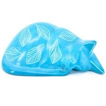 Tabaka Chigware Hand Carved Kisii Soapstone Blue Flower Sleeping Cat Figure image 1
