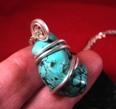 Gorgeous Hand Forged Natural Blue Turquoise Pendant  Sterling Silver #39 - $51.30