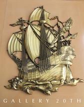 MINT! MID CENTURY GOLD SHIP WALL ART! Vtg Sculpture Eames 50s Galleon Do... - €393,88 EUR