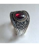 Tibetan ring, Red Garnet Ring, gypsy ring, ornate ring, wide band, boho silver r - $84.38
