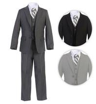 Boltini Italy Kids Formal Boys Suit Set - 5PC- Jacket, Shirt, Tie, Vest, Pants