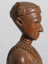 OLD AFRICAN CARVED WOOD PORTRAIT BUST ASHANTI KING - $178.82
