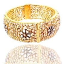 18k Yellow Gold 21.99ct Slice Diamond Bangle Vintage Style Bracelet Fine... - $7,489.35