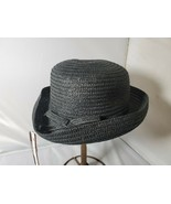 Axxents Women's Straw Hat Packable NWT Black Rolled Up Brim - $36.02