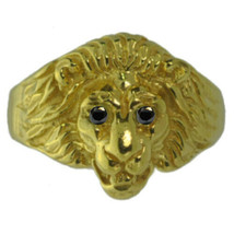 New Lion Ring Sterling Silver Jewelry Cat 24kt Gold Plated Black Diamond... - $53.72
