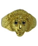 New Lion Ring Sterling Silver Jewelry Cat 24kt Gold Plated Black Diamond... - $82.95