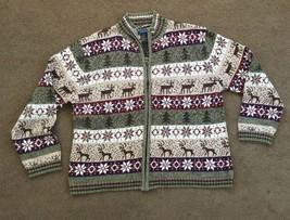 Vintage 1990s Zippered Cardigan Christmas Sweater Shaver Lake Scandinavian - $30.40