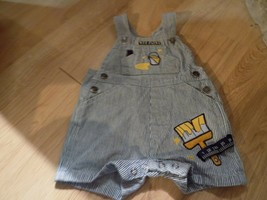 Infant Size 3-6 Months Blue White Striped Denim Shortalls Overalls Wet P... - $15.00
