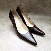 "Anne Klein Womens Size 8.5 Brown Slip On Pointed Toe Croc Print 3.5"" Heels Pumps - $21.99"