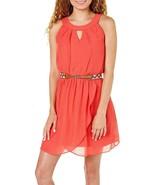 A. Byer Juniors Sleeveless Ruffle Front Belt Dress Large Coral orange - $12.62