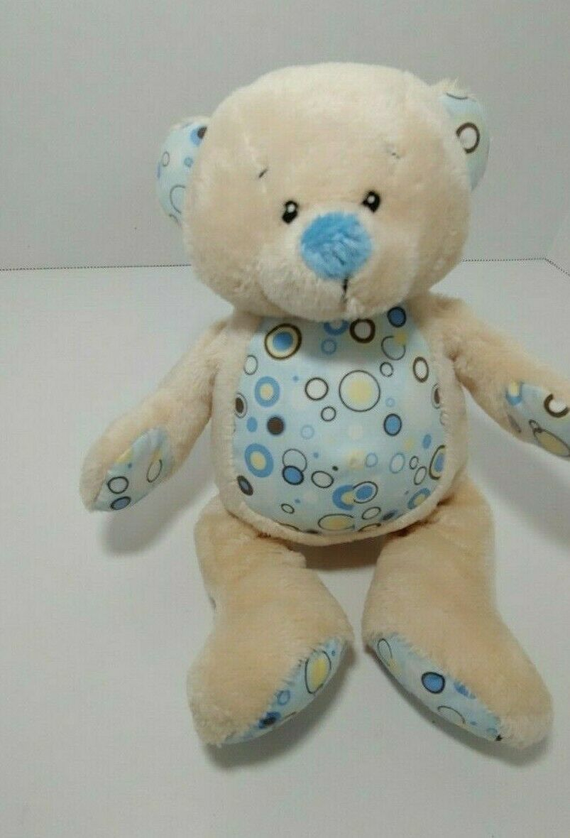 Primary image for Baby Ganz small tan blue teddy rattle plush Blueberry bear brown white circles