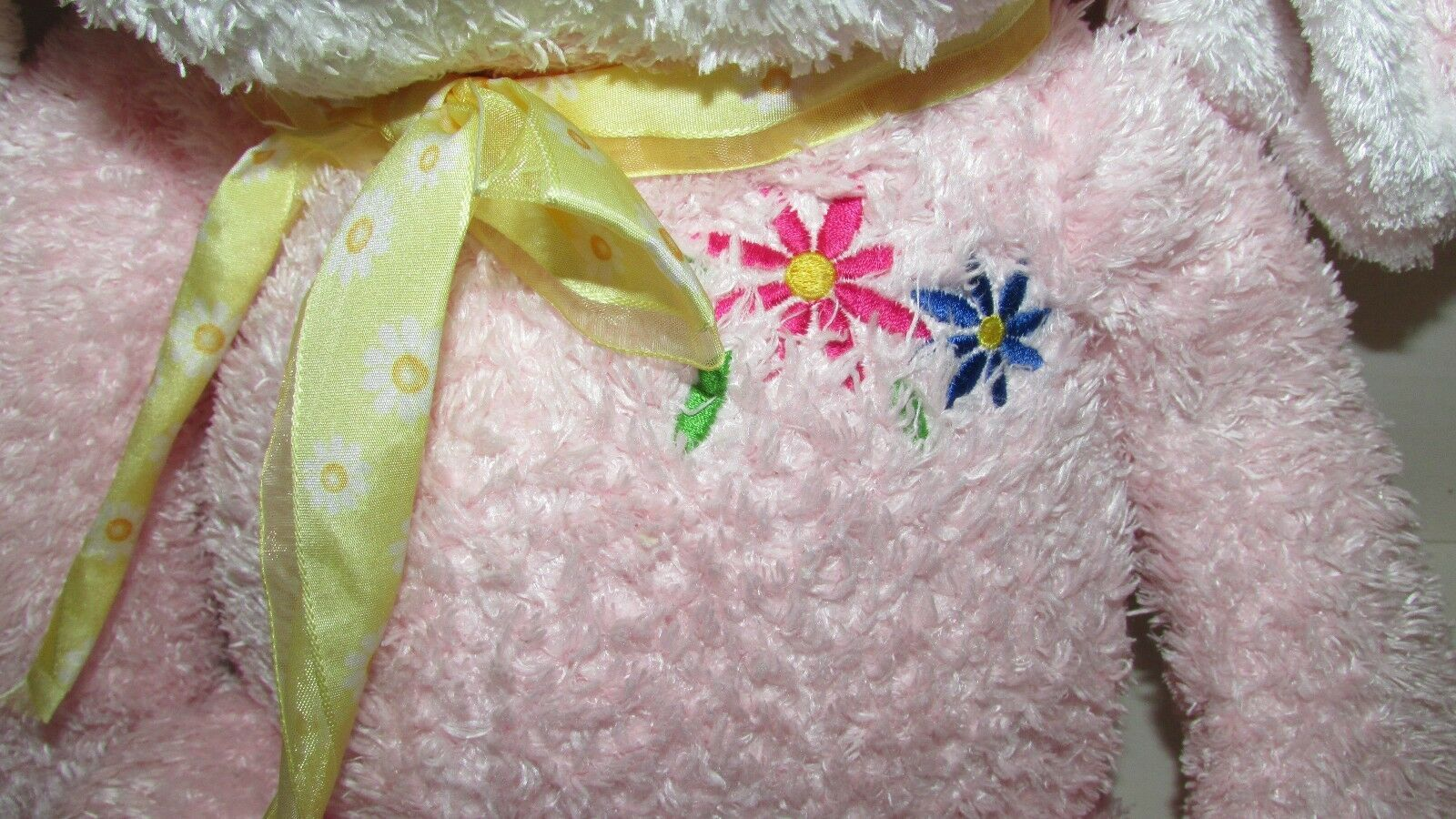 Commonwealth pink white bunny rabbit plush flowers on chest yellow bow floppy