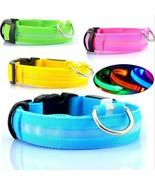 Safety Dog LED Collar Blinking Night Flashing Light Glow Adjustable S M ... - $3.99