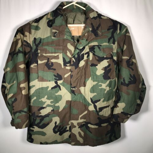 Primary image for Army Woodland Camouflage Jacket Sz. Large Long Cold Weather Field Coat