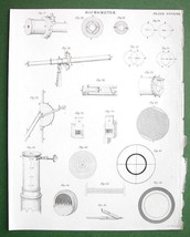 MICROMETER Construction Details Brewster's - 1842 Antique Print Engraving - $4.49