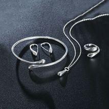 Women Wedding  925 Silver Drop Necklace Bracelet Earring Ring Fashion Jewelry Se image 1