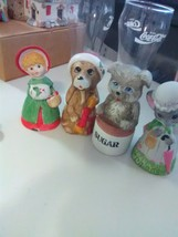 4 Ceramic Bells - Girl, Bear, Mouse, & Dog -w clappers - $5.51