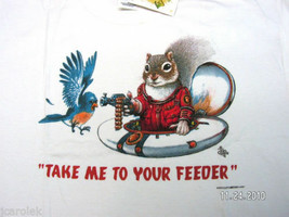 Squirrel Sweatshirt M L XL Take Me To Your Feeder NWT Fun White New Gildan - $25.25
