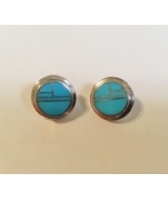 Arizona Blue Circle Earrings Sterling Silver Post Native American Inlay ... - $165.00