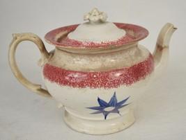 Spongeware Splatterware Red Blue Flower Teapot Lid 1830s Antique - $161.19