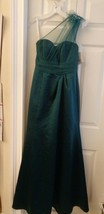 One Shoulder Gown Dress Emerald Green Tulle Sequin David's Bridal  Size ... - $24.99