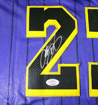 LEBRON JAMES / AUTOGRAPHED LOS ANGELES LAKERS PRO STYLE BASKETBALL JERSEY / COA image 4