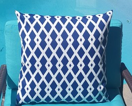 Robert Allen Baja Fret Marine Lattice Indoor Outdoor Pillow Cover with Z... - $14.00+