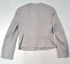 Giorgio Armani Black Label Raise Stripe Silver Grey Jacket Womens 38 Italy image 12