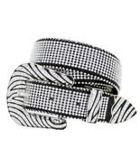Western Rhinestone Cowgirl Bling Studded Crystal Black Leather Zebra Bel... - $32.95