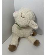Hallmark Little Blessings plush Lamb green bow Holy cross foot floppy - $14.84
