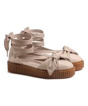 Puma Rihanna FENTY Creeper Oatmeal Leather Bow Long Ankle Leg Laces Sandals NEW - $54.99