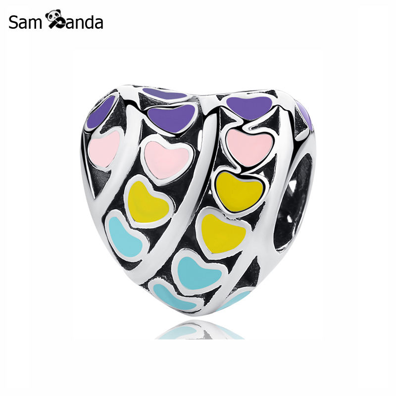 Primary image for Buy Original 100% 925 Sterling Silver Charm Bead Multi Color Hearts Charms Love