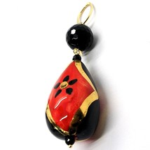 18K YELLOW GOLD PENDANT, ONYX, BLACK AND RED CERAMIC DROP HAND PAINTED IN ITALY image 2